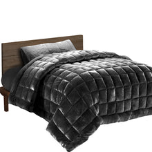 Load image into Gallery viewer, Giselle Bedding Faux Mink Quilt Fleece Throw Blanket Comforter Duvet Charcoal Single