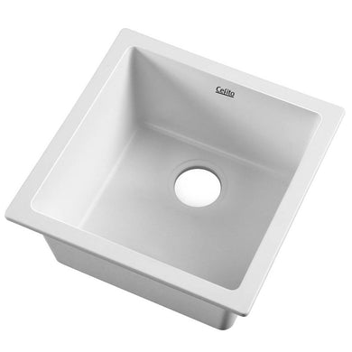 Cefito Stone Kitchen Sink 450X450MM Granite Under/Topmount Basin Bowl Laundry White