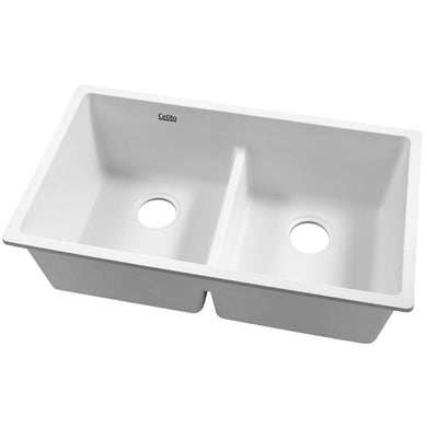 Cefito Stone Kitchen Sink 790X460MM Granite Under/Topmount Basin Double Bowl White