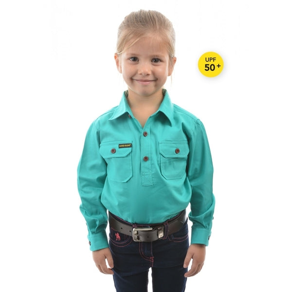 KIDS HALF PLACKET LIGHT COTTON SHIRT TURQUOISE