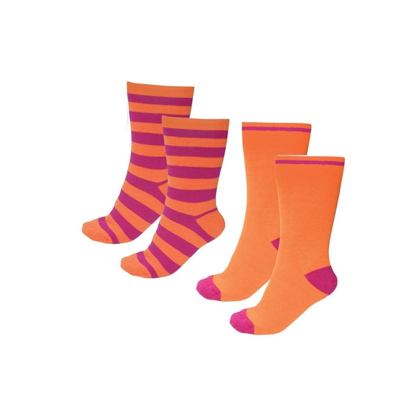 THERMAL SOCKS - TWIN PACK ORANGE/FUSCHIA