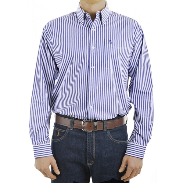 Mens Lawson 1-PKT L/S Shirt Blue/White