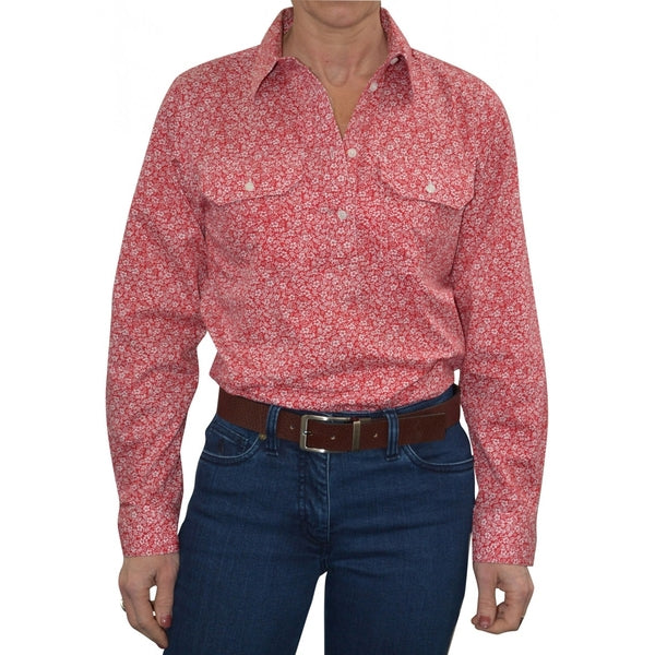 Womens Half Placket 2Pocket Print L/S Shirt Red