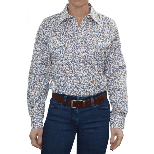 Womens Half Placket 2Pocket Print L/S Shirt White/Blue