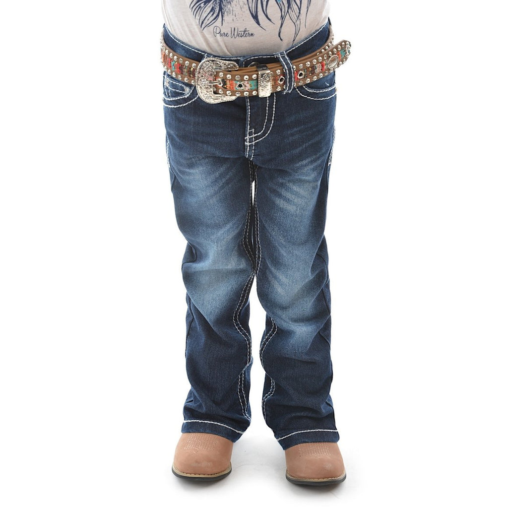 Girls Daisy Stretch Jean Boot Cut Midnight