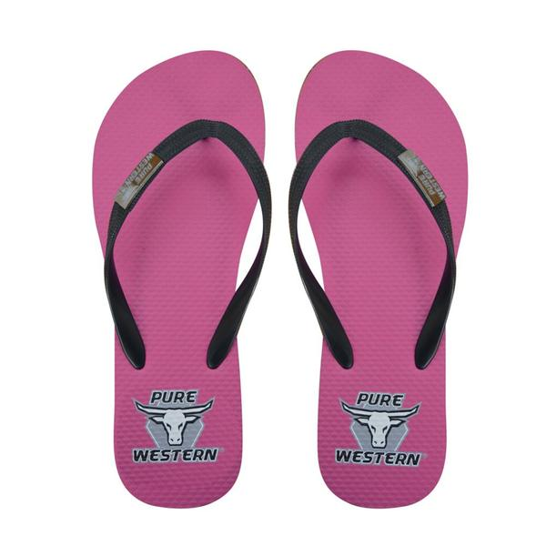 Pure Western Elle Womens Thongs - Fushia/Black