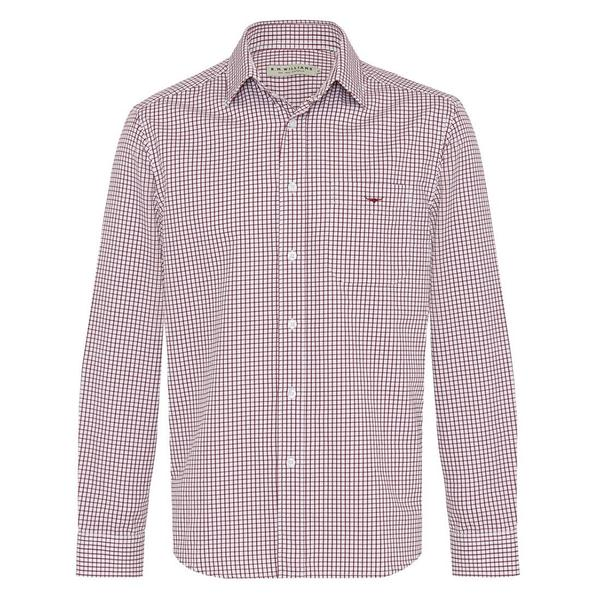 R.M. Williams Collins Shirt - Burgundy/White