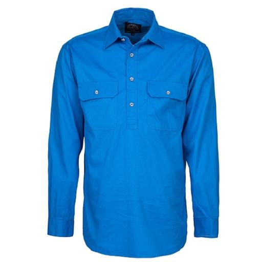 Ritemate Men's Pilbara Closed Front Long Sleeve Shirt  - Blue
