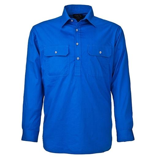 Ritemate Men's Pilbara Closed Front Long Sleeve Shirt  - Cobolt