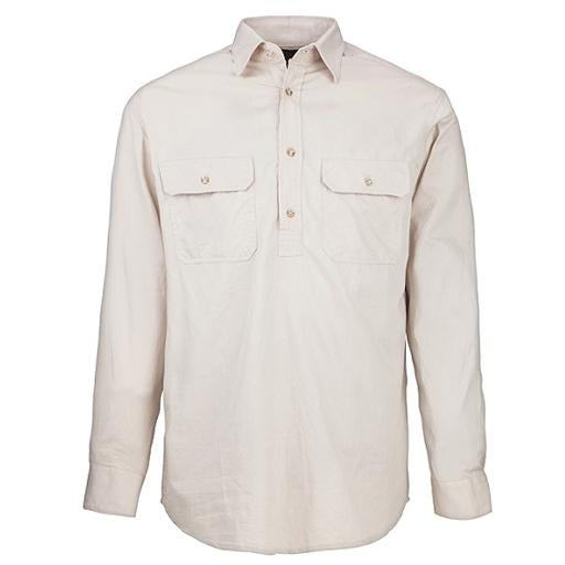 Ritemate Men's Pilbara Closed Front Long Sleeve Shirt  - Stone
