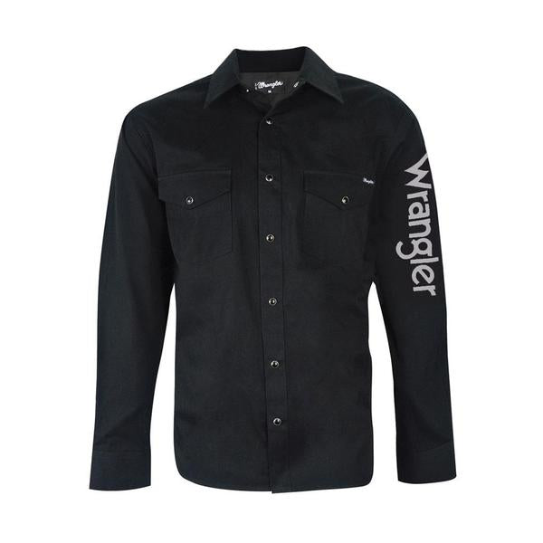 Wrangler Mens Logo Rodeo Shirt - Black