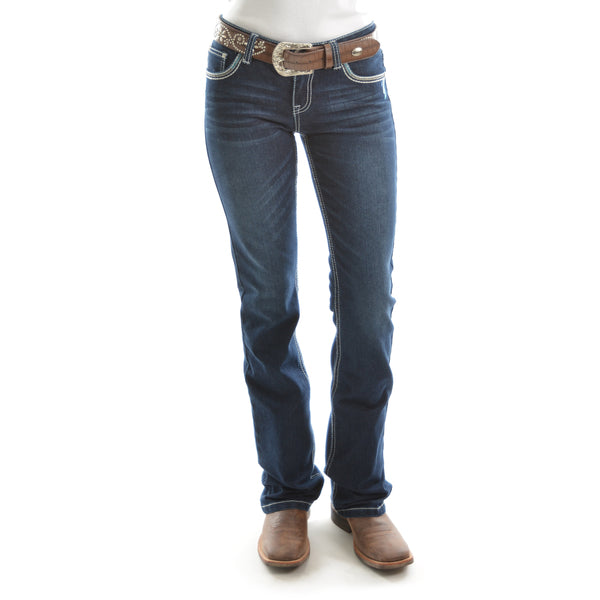 Pure Western Womens Alice Relaxed Rider Jean 36Leg Darkest Night