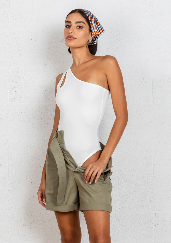 One shoulder cut out Bodysuit | White