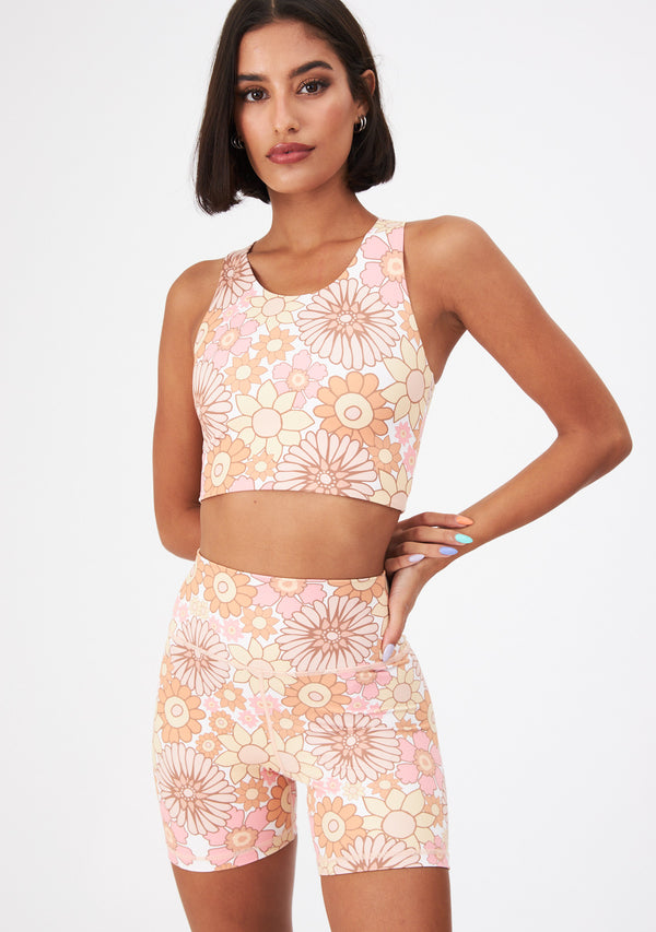 FLOWER POWER CORAL LONG TOP