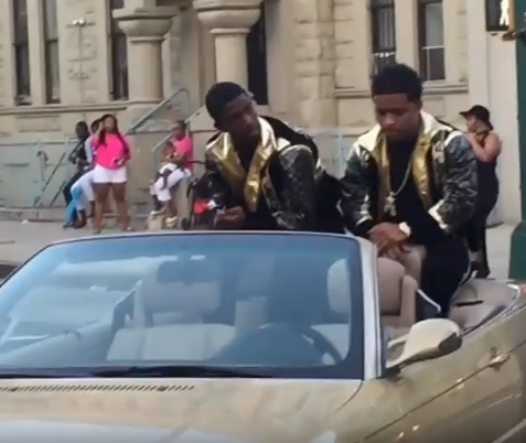 Short Clip Of P. Diddy Sons Christian and Justin Combs shooting a Video In Harlem!