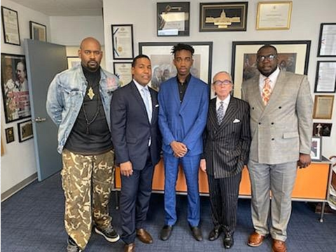 TEEN WHO GOT HIT IN FACE BY POLICE OFFICER along with Activist Hawk Newsome, Atty. Joey Jackson, Brandon Marshall, Atty Sandford Rubenstein, activist Kevin McCarl