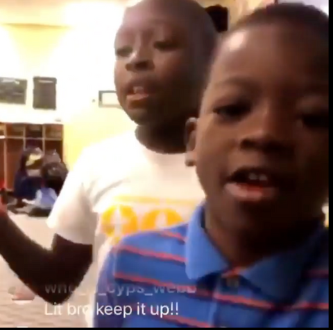 Young preschoolers rapping fire lyrics