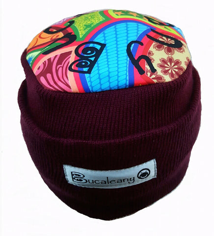 Bucaleany Burgundy Beanie Aztec / winter hat