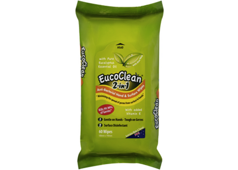 Eucoclean - 2-in-1 Antibacterial Hand & Surface Wipes 60pk