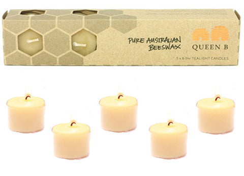 Queen B Beeswax Candles - Tealight 8-9 hour, 5pack