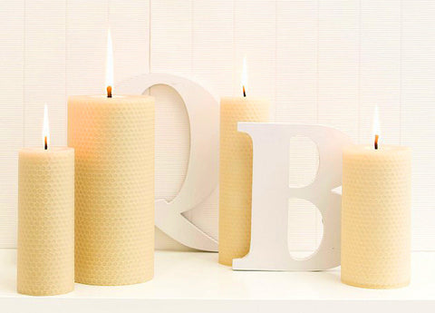 Queen B Beeswax Candles - Hand Rolled Honeycomb