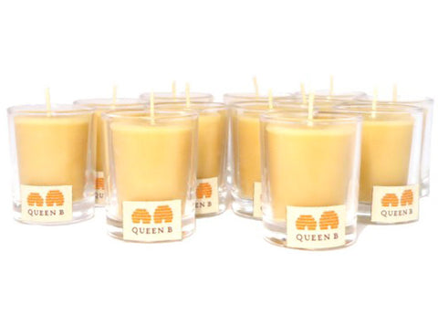 Queen B Beeswax Candles - Round Votive in Clear Glass, 15hour