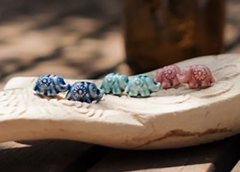 Loom Designs - Claycult Stud Earrings, Elephant