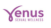 The logo reads 'Venus Sexual Wellness' in a dark indigo colour. The 'V' in the logo has a loop at the bottom and two ticked edges to represent a non-gendered form.