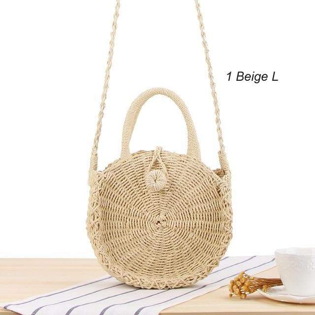SportsChest 1beige L / China Women Round Straw Bag