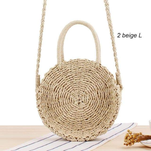SportsChest 2beige L / China Women Round Straw Bag