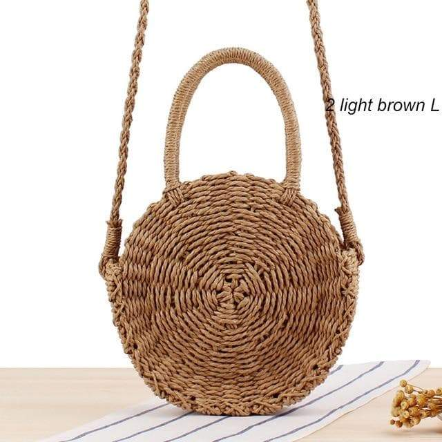SportsChest 2light brown L / China Women Round Straw Bag