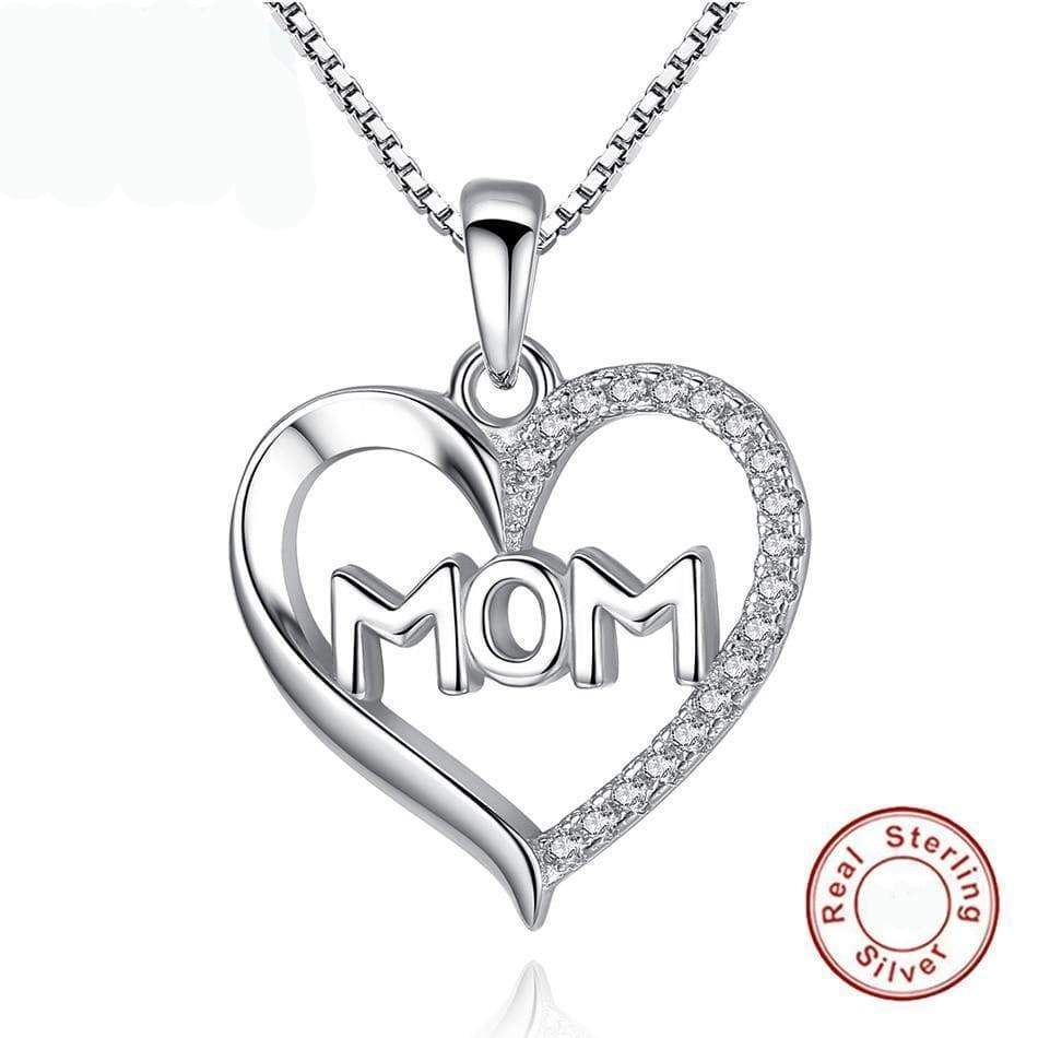 SportsChest Authentic Sterling Silver Crystal MOM Pendant Necklace