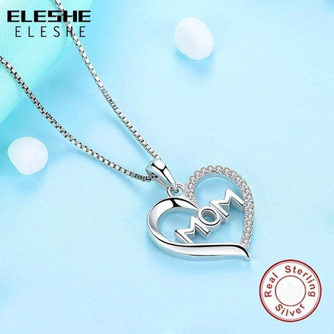 Image of SportsChest Authentic Sterling Silver Crystal MOM Pendant Necklace