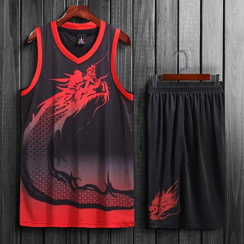 Image of SportsChest Basketball Jersey set black / L Dragon Men & women Basketball Jersey Sets