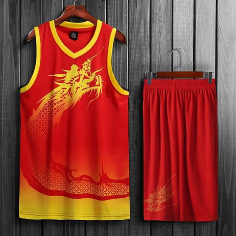 Image of SportsChest Basketball Jersey set red / L Dragon Men & women Basketball Jersey Sets