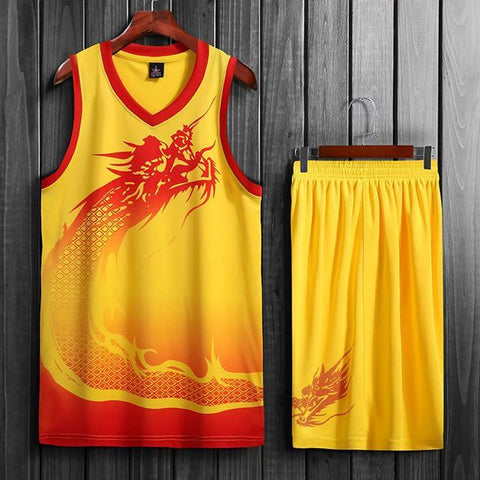 Image of SportsChest Basketball Jersey set yellow / L Dragon Men & women Basketball Jersey Sets