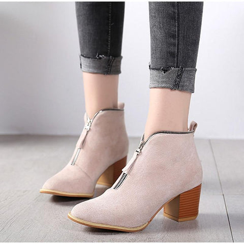 Image of SportsChest beige / 5 Womens Sexy Suede Ankle Boots