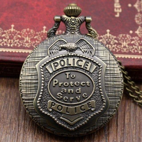SportsChest Vintage Bronze police Women Men & Kids Steampunk Pocket Watch with Chain Pendant