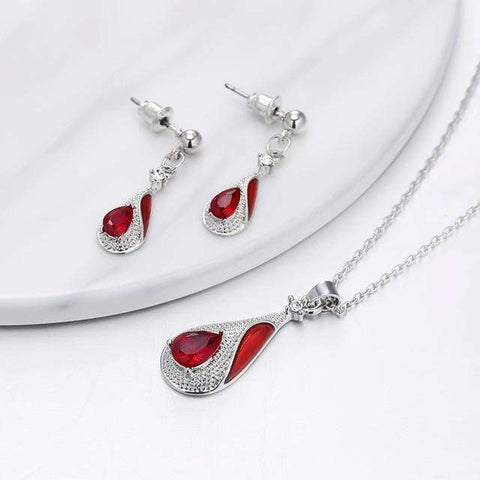 Image of SportsChest Crystal Necklace set 2 / 40cm Water Drop Crystal Earrings & Necklaces Set