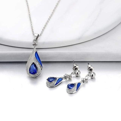 Image of SportsChest Crystal Necklace set 4 / 40cm Water Drop Crystal Earrings & Necklaces Set
