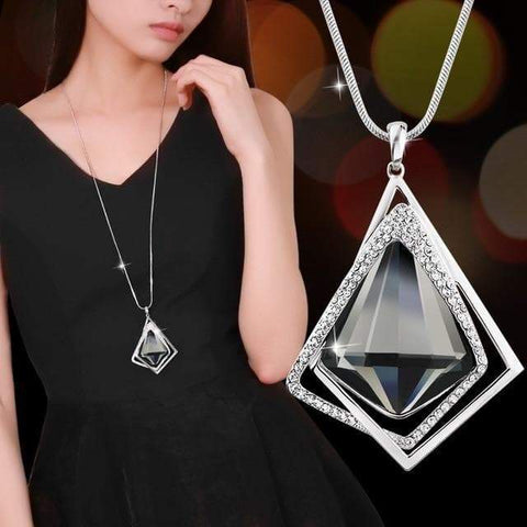 Image of SportsChest Meyfflin Long Geometric Crystal Pendant Necklaces.
