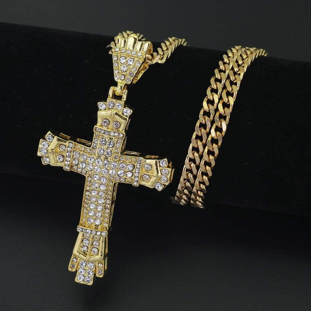 SportsChest Gold-color Cross Bling Pendant Necklace
