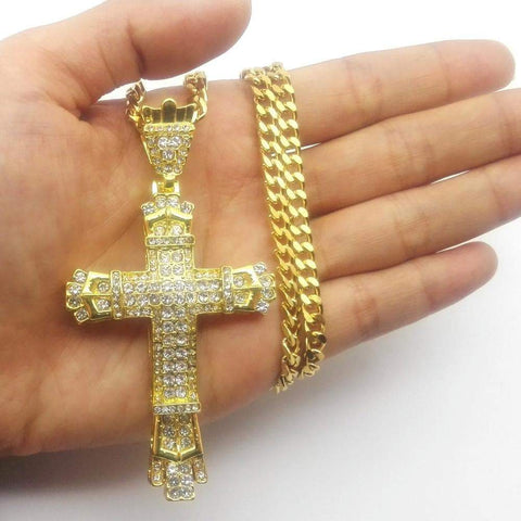Image of SportsChest Gold-color Cross Bling Pendant Necklace