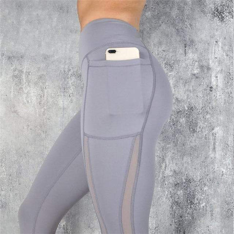 Image of SportsChest Gray Women's Fitness Leggings With High Waist & Pocket