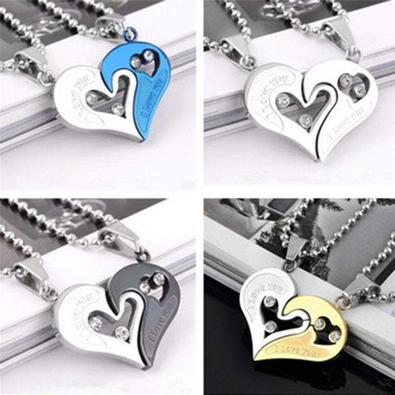 SportsChest Heart shape Necklace black and silver Heart Shape Love Pendant Necklaces