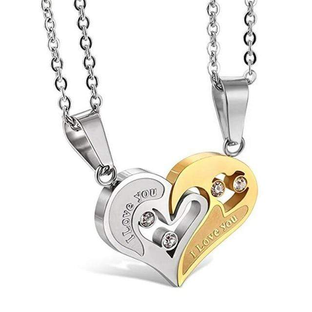 SportsChest Heart shape Necklace gold and silver Heart Shape Love Pendant Necklaces