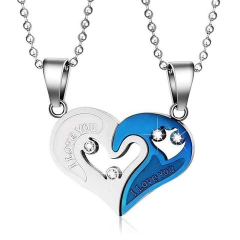 Image of SportsChest Heart shape Necklace silver and blue Heart Shape Love Pendant Necklaces