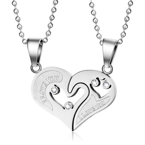 Image of SportsChest Heart shape Necklace silver Heart Shape Love Pendant Necklaces