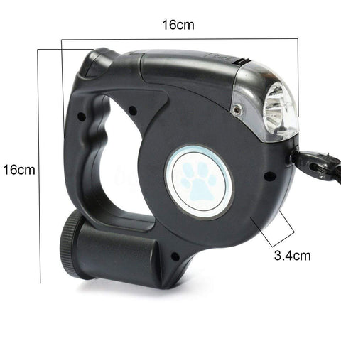 Image of SportsChest LED Flashlight Retractable Dog Leash With Poop Bag Holder
