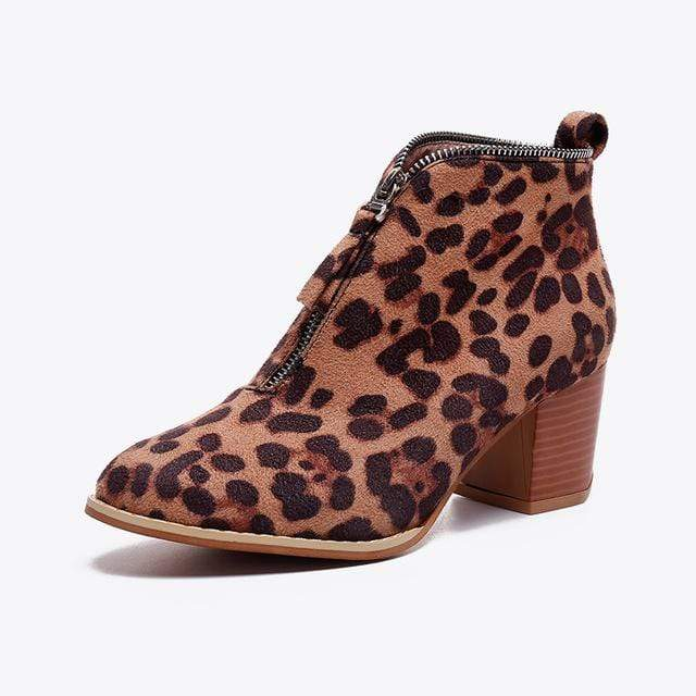 SportsChest Leopard print / 5 Womens Sexy Suede Ankle Boots